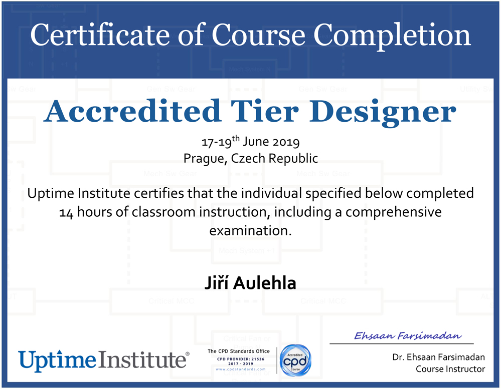 UPTIME INSTITUTE Certificate